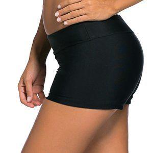 Black Wide Waistband Swimsuit Bottom Shorts